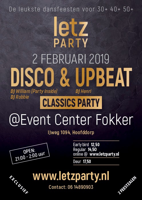 Letz Party 30+ Disco & Classics feest